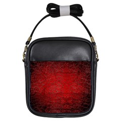 Red Grunge Texture Black Gradient Girls Sling Bags by BangZart