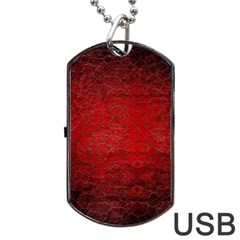 Red Grunge Texture Black Gradient Dog Tag Usb Flash (one Side)