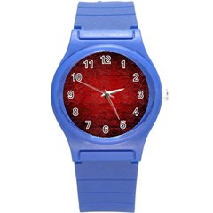 Red Grunge Texture Black Gradient Round Plastic Sport Watch (s)