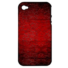 Red Grunge Texture Black Gradient Apple Iphone 4/4s Hardshell Case (pc+silicone)