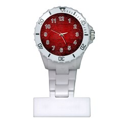 Red Grunge Texture Black Gradient Plastic Nurses Watch by BangZart