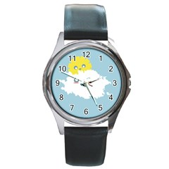 Cloud Cloudlet Sun Sky Milota Round Metal Watch by BangZart