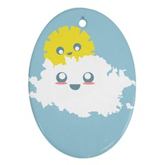 Cloud Cloudlet Sun Sky Milota Ornament (oval)