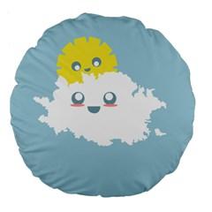Cloud Cloudlet Sun Sky Milota Large 18  Premium Flano Round Cushions by BangZart