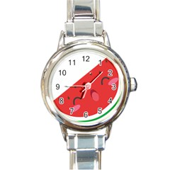 Watermelon Red Network Fruit Juicy Round Italian Charm Watch