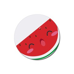 Watermelon Red Network Fruit Juicy Rubber Coaster (round)