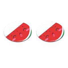 Watermelon Red Network Fruit Juicy Cufflinks (oval) by BangZart