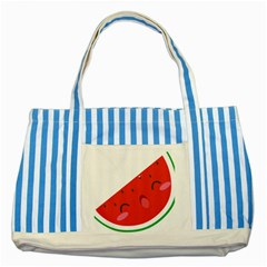 Watermelon Red Network Fruit Juicy Striped Blue Tote Bag by BangZart