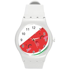 Watermelon Red Network Fruit Juicy Round Plastic Sport Watch (m) by BangZart