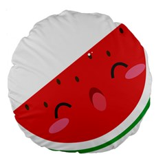 Watermelon Red Network Fruit Juicy Large 18  Premium Flano Round Cushions by BangZart