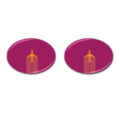 Airplane Jet Yellow Flying Wings Cufflinks (oval)