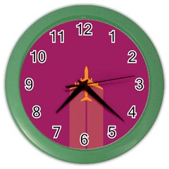 Airplane Jet Yellow Flying Wings Color Wall Clocks