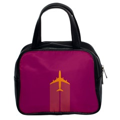 Airplane Jet Yellow Flying Wings Classic Handbags (2 Sides)
