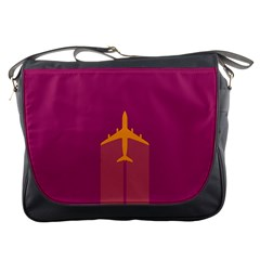 Airplane Jet Yellow Flying Wings Messenger Bags by BangZart