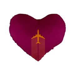 Airplane Jet Yellow Flying Wings Standard 16  Premium Flano Heart Shape Cushions by BangZart