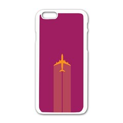 Airplane Jet Yellow Flying Wings Apple Iphone 6/6s White Enamel Case