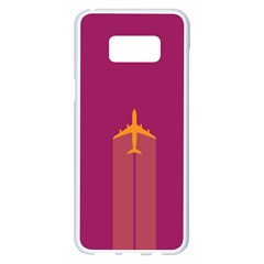 Airplane Jet Yellow Flying Wings Samsung Galaxy S8 Plus White Seamless Case