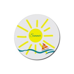 Summer Beach Holiday Holidays Sun Rubber Round Coaster (4 Pack)