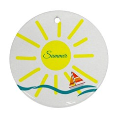 Summer Beach Holiday Holidays Sun Round Ornament (two Sides)