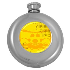 Texture Yellow Abstract Background Round Hip Flask (5 Oz)