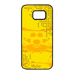Texture Yellow Abstract Background Samsung Galaxy S7 Edge Black Seamless Case by BangZart