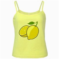Lemon Fruit Green Yellow Citrus Yellow Spaghetti Tank