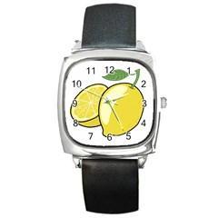 Lemon Fruit Green Yellow Citrus Square Metal Watch by BangZart