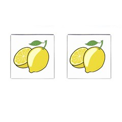 Lemon Fruit Green Yellow Citrus Cufflinks (square)