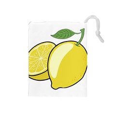 Lemon Fruit Green Yellow Citrus Drawstring Pouches (medium)