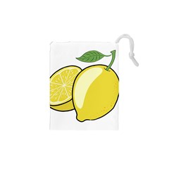 Lemon Fruit Green Yellow Citrus Drawstring Pouches (xs)