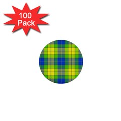 Spring Plaid Yellow Blue And Green 1  Mini Buttons (100 Pack)