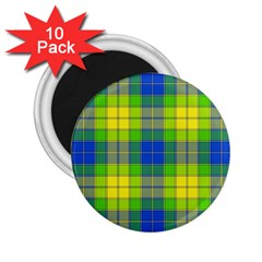 Spring Plaid Yellow Blue And Green 2 25  Magnets (10 Pack)
