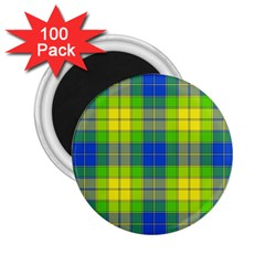 Spring Plaid Yellow Blue And Green 2 25  Magnets (100 Pack)