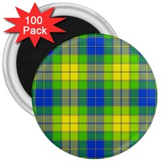 Spring Plaid Yellow Blue And Green 3  Magnets (100 Pack)