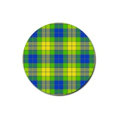 Spring Plaid Yellow Blue And Green Rubber Round Coaster (4 Pack)