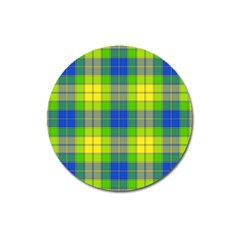 Spring Plaid Yellow Blue And Green Magnet 3  (round)