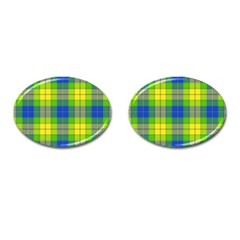 Spring Plaid Yellow Blue And Green Cufflinks (oval) by BangZart