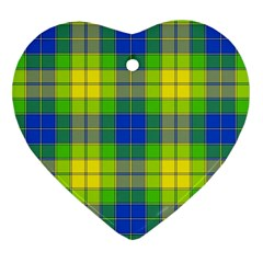 Spring Plaid Yellow Blue And Green Heart Ornament (two Sides)