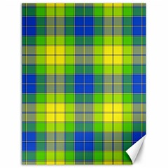 Spring Plaid Yellow Blue And Green Canvas 12  X 16