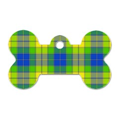 Spring Plaid Yellow Blue And Green Dog Tag Bone (two Sides)