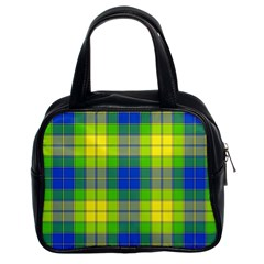 Spring Plaid Yellow Blue And Green Classic Handbags (2 Sides)