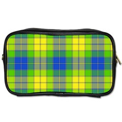 Spring Plaid Yellow Blue And Green Toiletries Bags 2 Side by BangZart