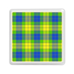 Spring Plaid Yellow Blue And Green Memory Card Reader (square)