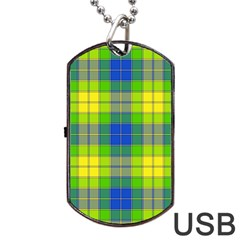 Spring Plaid Yellow Blue And Green Dog Tag Usb Flash (two Sides) by BangZart