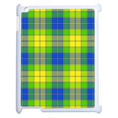 Spring Plaid Yellow Blue And Green Apple Ipad 2 Case (white)