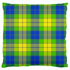 Spring Plaid Yellow Blue And Green Large Cushion Case (two Sides)