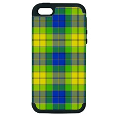 Spring Plaid Yellow Blue And Green Apple Iphone 5 Hardshell Case (pc+silicone)