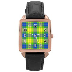 Spring Plaid Yellow Blue And Green Rose Gold Leather Watch