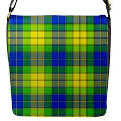 Spring Plaid Yellow Blue And Green Flap Messenger Bag (s)