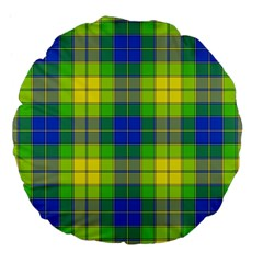 Spring Plaid Yellow Blue And Green Large 18  Premium Flano Round Cushions